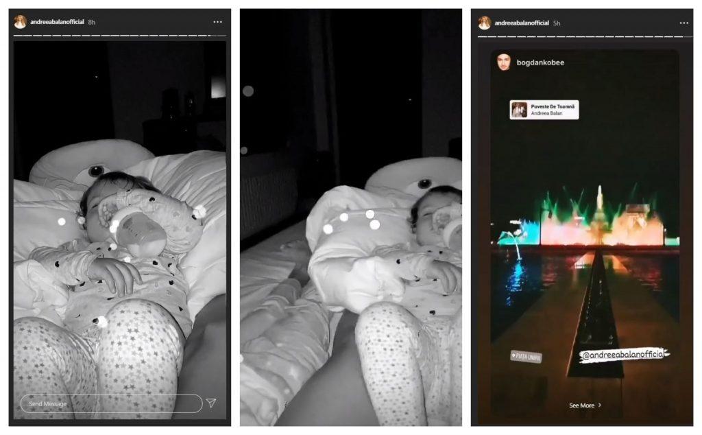 În timp ce la Pro TV erau difuzate imaginile cu revenirea focoasei brunete de care George Burcea s-a îndrăgosit, Andreea Bălan adormea fetițele pe care le are cu actorul. La aproape 02:00 dimineața a distribuit o filmare postată de un prieten © Instagram Stories