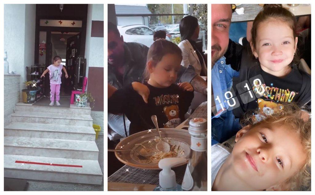 Ieri, Bianca Drăgușanu și Alex Bodi au luat masa în oraș împreună cu fiicele lor, dar și câțiva prieteni © Instagram Stories
