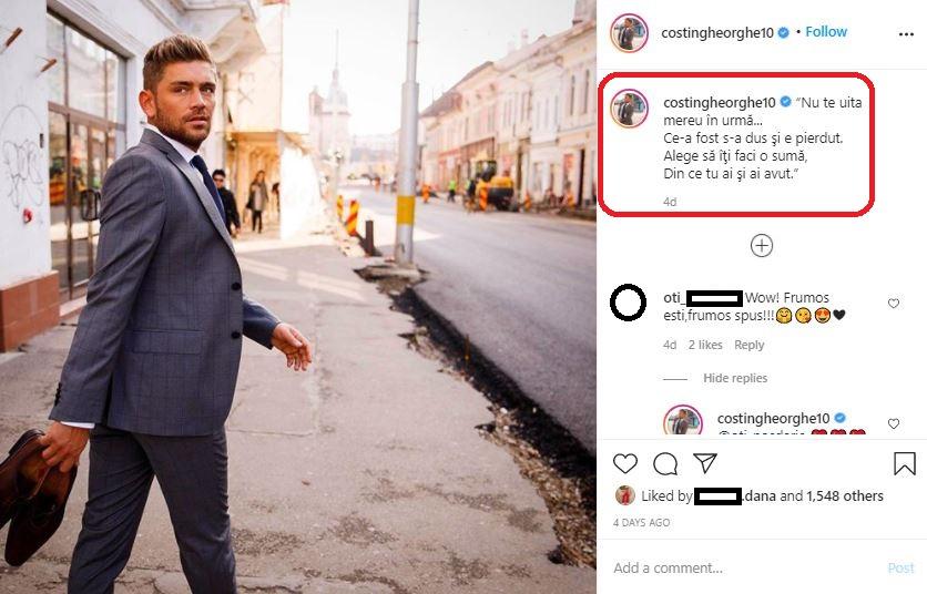 Costin Gheorghe a publicat un mesaj cu subînțeles după ce s-a aflat despre aventura pe care a avut-o cu Lidia Buble © Instagram