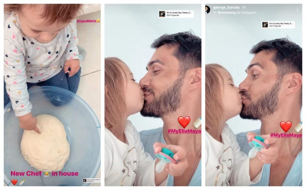 Ieri, George Burcea și-a vizitat fiicele și le-a făcut gogoși. Într-un video scurt făcut public actorul o pupă pe buze pe Ella, fata cea mare pe care o are cu Andreea Bălan © Instagram Stories