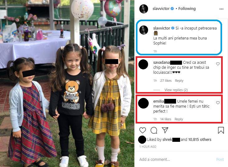 Bianca Drăgușanu, criticată în comentariile de la postarea făcută azi de Victor Slav © Instagram