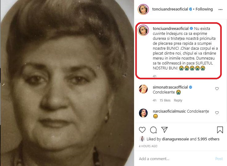 """Andreea Tonciu, în doliu după moartea bunicii sale: """"Am să te iubesc câte zile voi avea, iubirea mea bună"""" - Cancan.ro"""