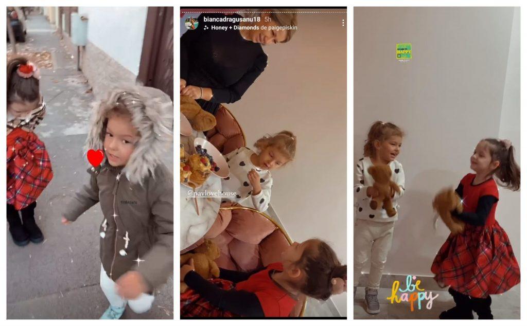 Bianca Drăgușanu a mers ieri împreună cu fiica ei să o ia pe fetița cea mică a lui Alex Bodi de la grădiniță. Ulterior, vedeta le-a dus pe cele două prințese la Victoria Popescu, unde s-au distrat pe cinste © Instagram Stories