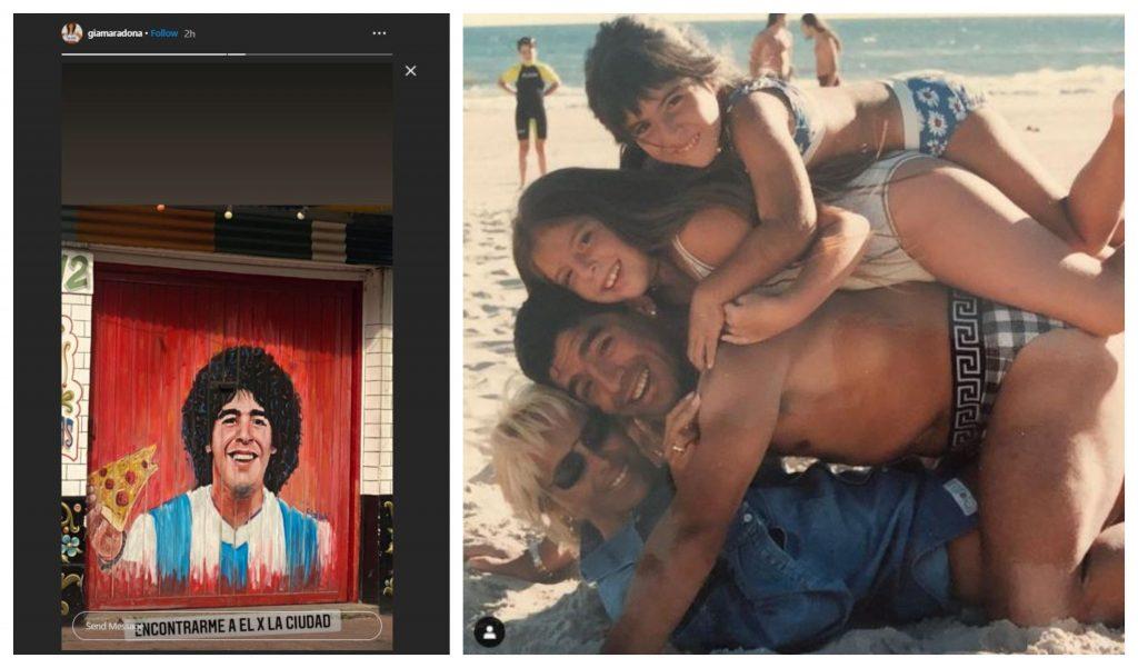 Postarea făcută de Giannina Maradona după ce a aflat de moartea tatălui ei (foto stânga). Poză de album cu Diego Maradona, alături de Claudia Villafane și cele două fiice pe care le-au avut împreună (foto dreapta) © Instagram Stories / Instagram