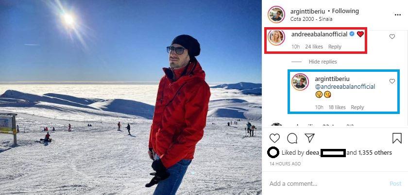 """Andreea Bălan și Tiberiu Argint au """"bifat"""" o minivacanță la munte înainte de Crăciunul 2020. Cântăreața i-a lăsat într-un comentariu un emoticon care reprezintă o inimă roșie, iar el i-a răspuns la gestul de iubire © Instagram"""