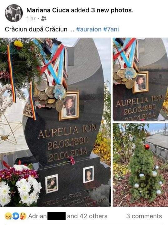Mariana Ciuca a publicat astăzi trei fotografii realizate la mormântul surorii sale © Facebook