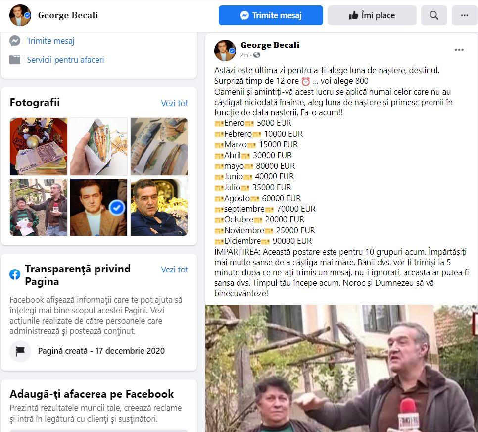 Un bărbat s-a dat drept Gigi Becali pe Facebook și a promis premii de sute de mii de euro