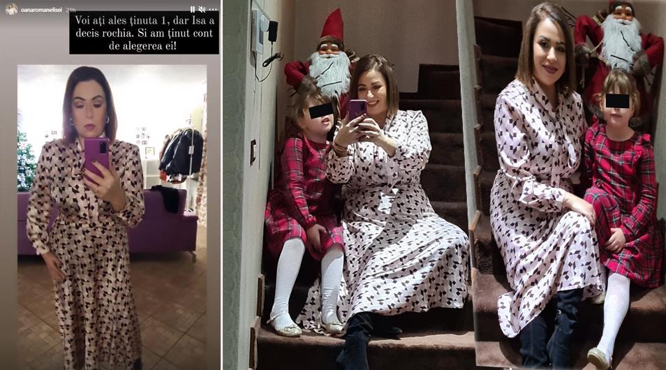 Oana Roman, masă tradițională în Ajun de Crăciun. Ulterior, ea și fiica sa au făcut câteva poze de album, iar pe două dintre acestea le-a făcut publice © Instagram Stories