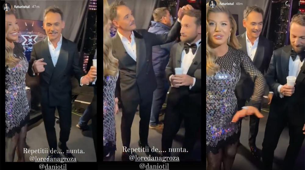"""În timpul finalei """"X Factor"""", Loredana Groza i-a propus lui Dani Oțil să-i fie nașă la nunta cu Gabriela Prisăcariu. Filmarea cu discuția dintre cei doi a fost făcută publică azi de Răzvan Simion © Instagram Stories"""