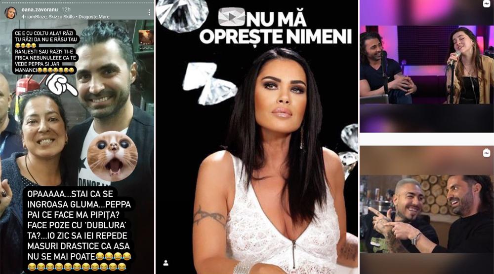 """Oana Zăvoranu a publicat o fotografie în care Pepe apare alături de Floricica Dansatoarea. Querida a comparat-o pe Oana Roman cu fosta concurentă de la """"iUmor"""" © Instagram Stories / Instagram"""