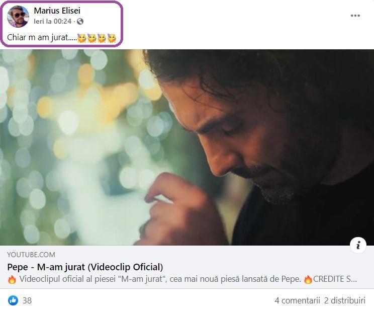 """Fostul partener de viață al Oanei Roman a distribuit azi-noapte noul single lansat de Pepe, """"M-am jurat"""" – mesajul melodiei și videoclipul i-au cucerit pe români © Facebook"""
