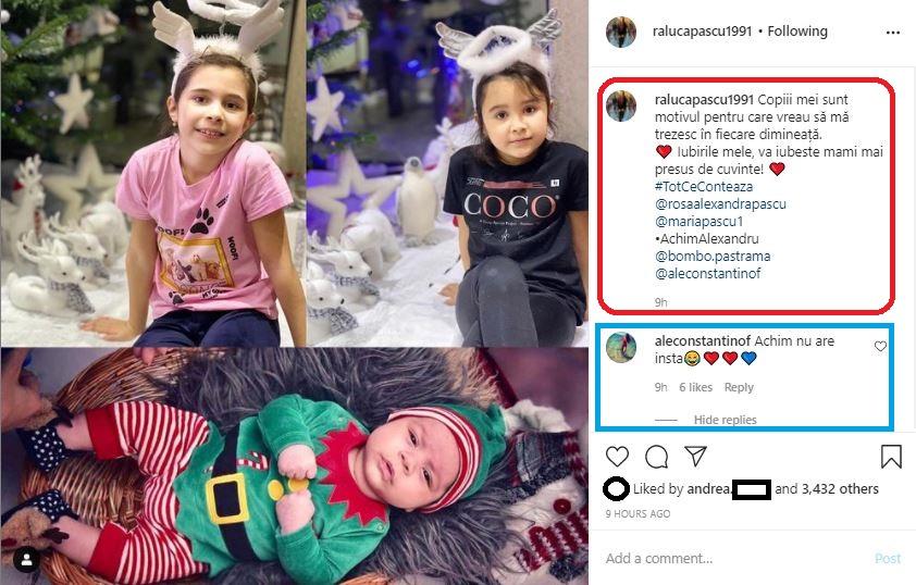 Raluca Pascu a publicat azi un colaj în care apar fiicele sale, Maria și Rosa, dar și nepoțelul Achim Alexandru © Instagram