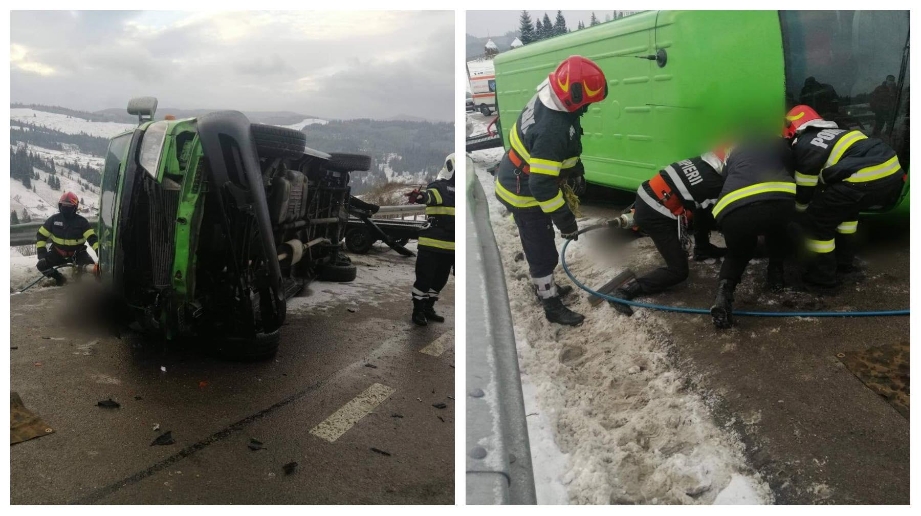 Accident grav în Suceava! Un microbuz cu pasageri s-a răsturnat, iar două persoane au murit - Cancan.ro