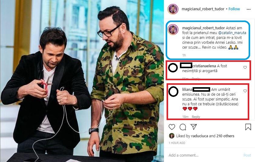 """Acesta este prima postare făcută de Robert Tudor după schimbul de replici pe care l-a avut cu Anna Lesko în cadrul emisiunii """"La Măruță"""" © Instagram"""