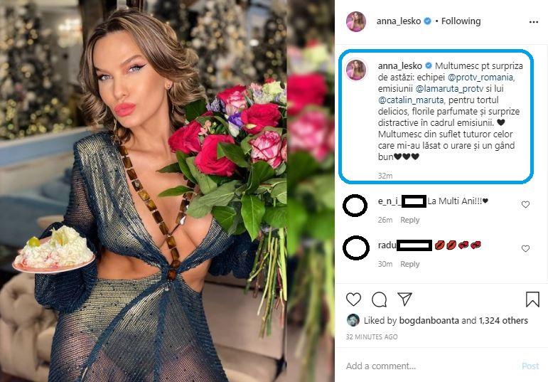 """Acesta este primul mesaj publicat de Anna Lesko după ce l-a persiflat pe Robert Tudor în cadrul emisiunii """"La Măruță"""" © Instagram"""