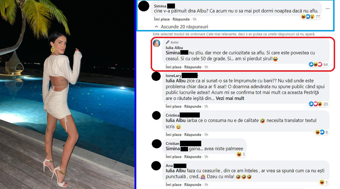 Iulia Albu susține că afirmațiile făcute de Adelina Pestrițu în legătură cu așa-zisa bătaie primită în culisele unei emisiuni sunt false © Facebook