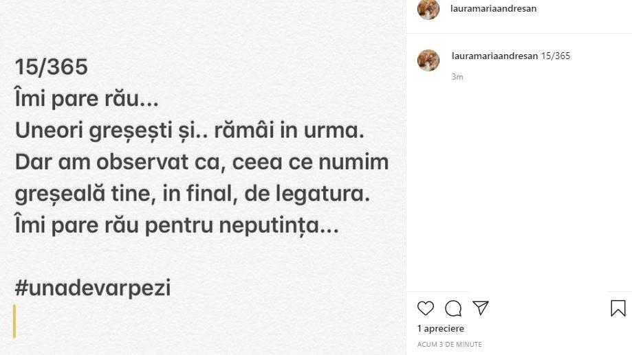 Astăzi, Laura Andreșan a publicat acest mesaj copleșitor, iar gândurile exprimate i-au trimis pe mulți la despărțirea de Grasu XXL © Instagram