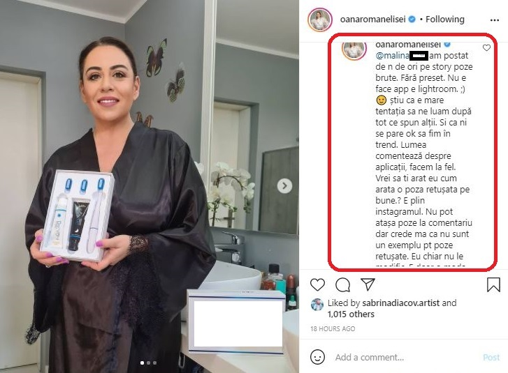Oana Roman a fost criticată ieri de mai mulți internauți, după ce a postat această fotografie, iar ea le-a dat replica multora © Instagram