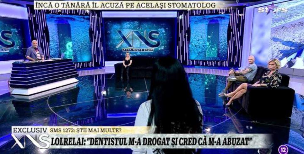 """Seara trecută, la """"XNS"""" a venit una dintre fostele paciente ale stomatologului pe care Lolrelai l-a acuzat de viol © captură video Antena Stars"""