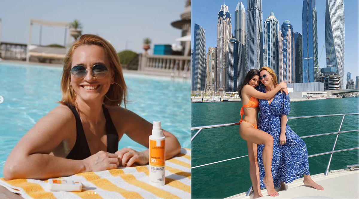 Andreea Esca, într-o piscină de lux din Dubai. Într-o altă zi, ea și Alexia Eram s-au plimbat cu yachtul © Instagram & Facebook