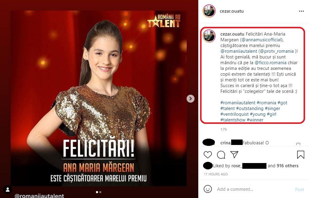 """Cezar Ouatu, mesaj emoționant pentru Ana-Maria Mărgean, câștigătoarea """"Românii au talent"""" 2021 © Instagram"""