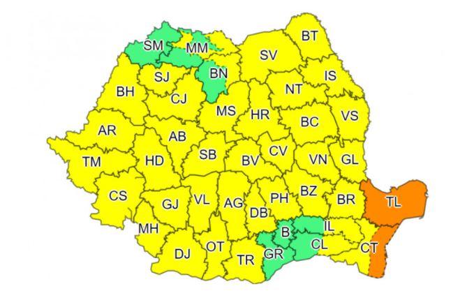 Aproape toată România se află sub cod galben de ploi, însă, în Tulcea și Constanța este cod portocaliu © digi24.ro