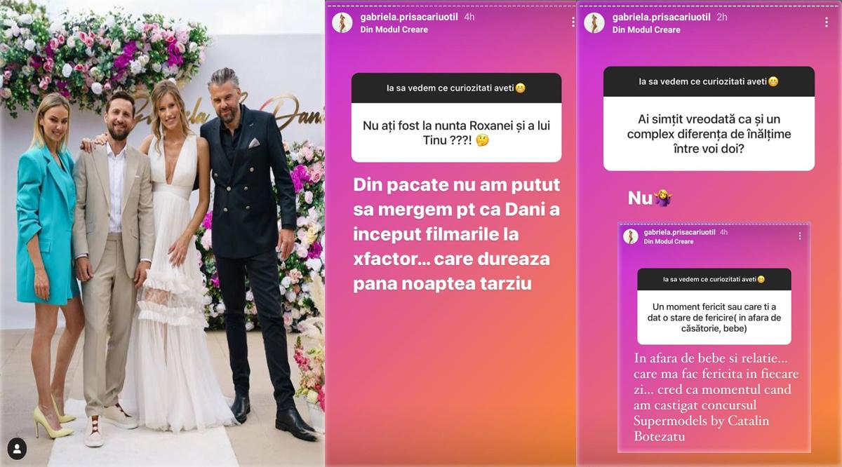 În weekendul care a trecut Gabriela Prisăcariu a dezvăluit adevăratul motiv pentru care ea și Dani Oțil nu au fost prezenți nici la nunta Roxanei Ionescu și a lui Tinu Vidaicu și nici la petrecerea care a avut loc vineri seara, 18 iunie 2021 © Instagram Stories